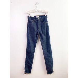 ACNE Studios Raw Blue High Rise Skinny Jeans $240